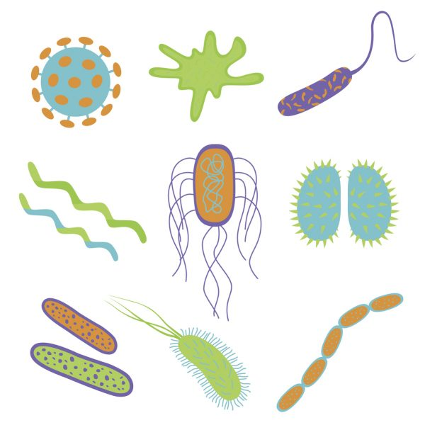Flat cartoon design germs and bacteria icons