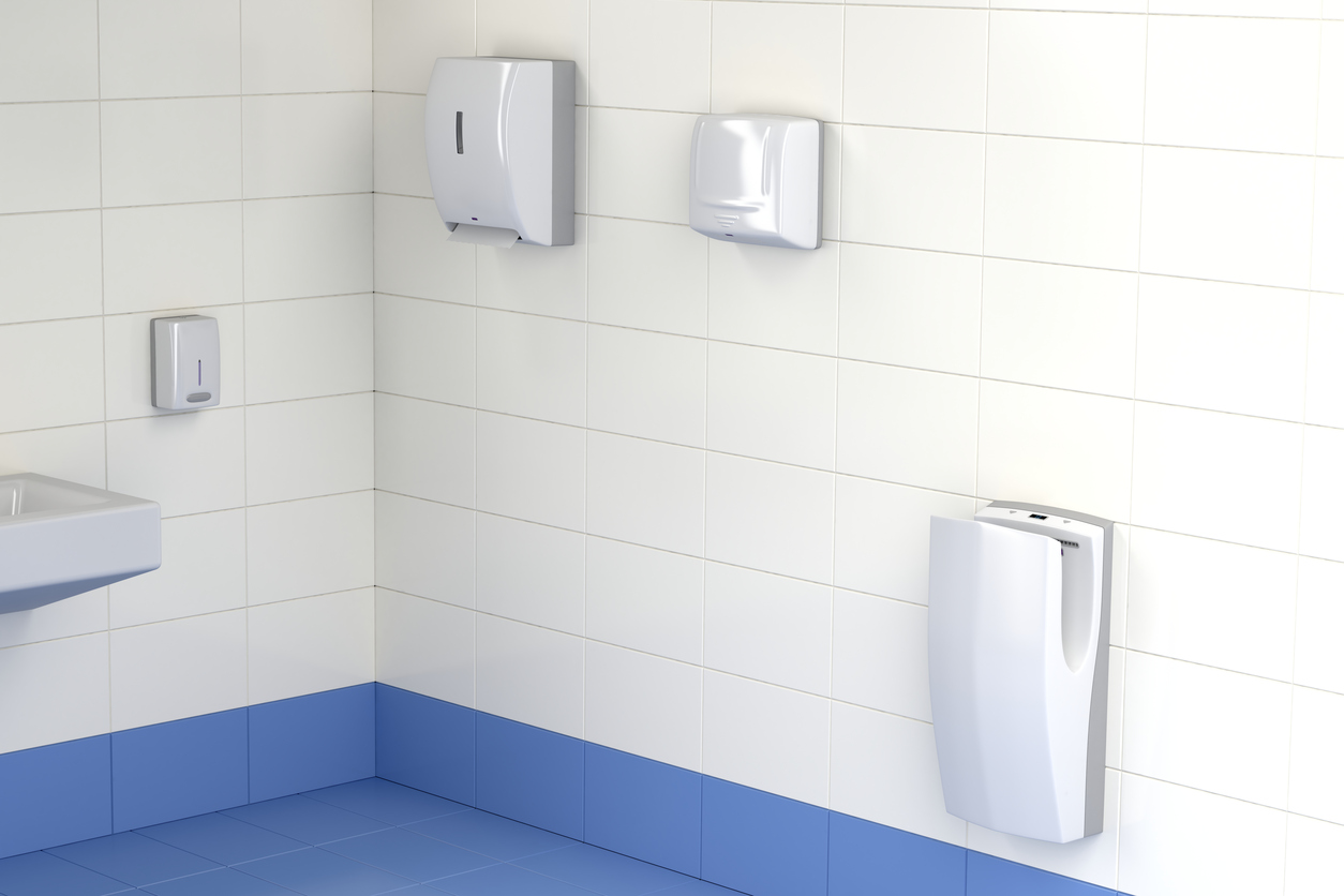 Commercial bathroom supplies - hand dryer and paper towel dispenser
