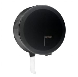 Black jumbo toilet roll holder dispenser